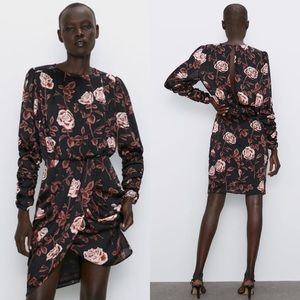 Zara Printed Roses Mini Dress Ruched Long Sleeves